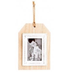 Quirky Luggage Label styled Photo Frame, displays an image 10 x 15 cm