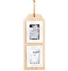 This Double Luggage Label Photo Frame can display 2 photos, measuring 10 x 15cm