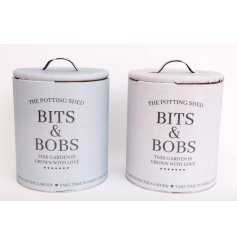 "Paint can sized ""Bits & Bobs"" tin for storing niknaks - available in grey or beige"