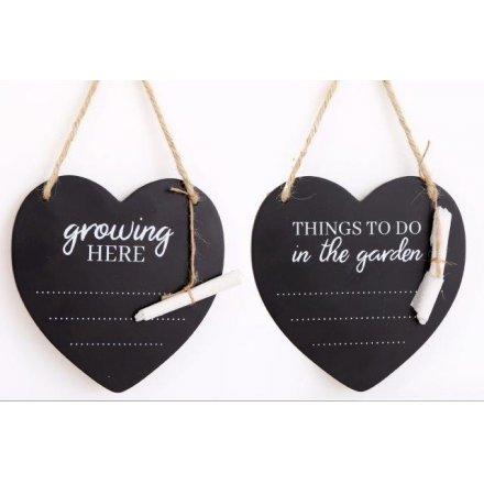 15 cm Potting Shed Heart Chalkboards, 2asst