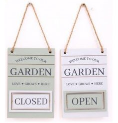 A mix of White and Sage Green toned wooden plaques, complete with small rotating blocks that read Open/Close
