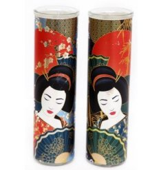 Bring the aromas of Sandlewood and Musk into your home with this tall Geisha Scented Candle Pot.