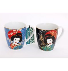 Covered with a beautiful Japanese Art print, this colourful mug will be sure to add a hint of grace to any kitchen disp