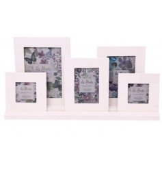 Display your favorite captured memories with this assorted sized display of picture frames