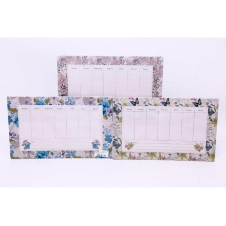 Floral Weekly Memo Boards