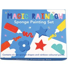 Filled with colours of the Rainbow, this fun paint and sponge set will be sure to keep little ones entertained!