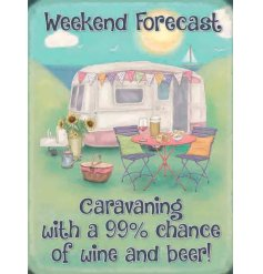A cute little mini metal sign featuring a Caravan inspired print and scripted text decal