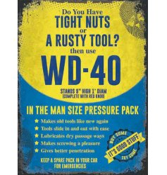 A distressed inspired metal sign featuring a comical WD-40 decal and scripted text