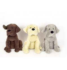 An assortment of 3 dog themed doorstops, each set with its own coloured corduroy fabric