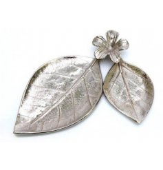 Unique aluminium trinket tray consisting of two oval leaves joined by flower. Approx total size 32 x 27 x 4.5 cm