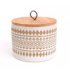 An on trend and super stylish stoneware storage pot with a wooden lid.