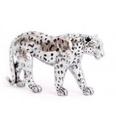 Sure to bring a modern hint to any home space, a decorative Leopard in a silver tone