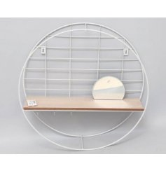 A contemporary shelving unit with hooks and mirror. The back grid is also ideal for hanging items.