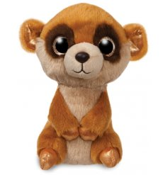 A super cute Meerkat soft toy complete with snuggly fur and sparkly gold eyes