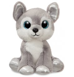 A super snuggly husky soft toy with added sparkly accents and glittery eyes