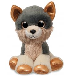 An adorable plush little wolf with sparkly gold eyes
