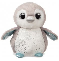 An adorable plush little penguin with sparkly silver eyes