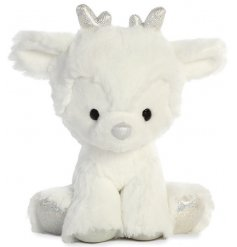 A super soft and snuggly reindeer toy, complete with wintery white fur and added sparkly accents