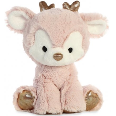 Pink Reindeer Soft Toy, 8in