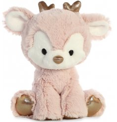 A super soft and snuggly reindeer toy, complete with rosey pink fur and added sparkly accents