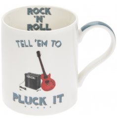 Covered with a quirky Rock N Roll inspired decal, this fine china mug will be sure to make a great gift idea for any ro