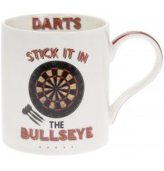 A simple Fine China Mug featuring a quirky Darts inspired decal