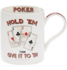 A simple Fine China Mug featuring a quirky Poker Star inspired decal