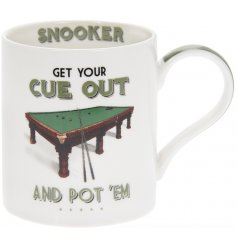 A simple Fine China Mug featuring a quirky Snooker inspired decal