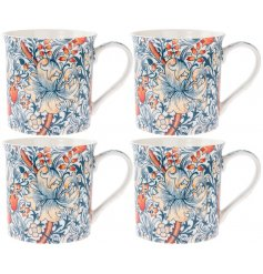 A stylish patterned set of Fine China Mugs featuring a beautiful and intricate Golden Lily decorated
