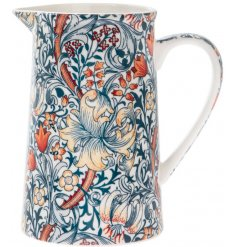 A stylish fine china jug featuring a beautiful and intricate Golden Lily decorated pot