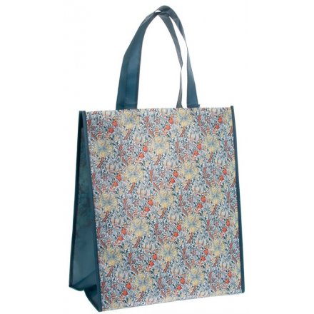 Gold and Blue Lily Shopping Bag