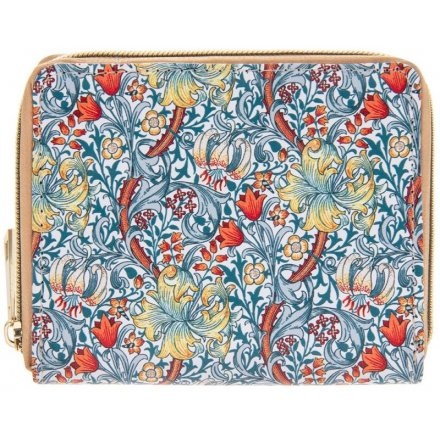 Gold and Blue Lily Zip Wallet