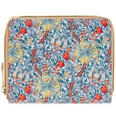 A stylish zip up wallet featuring a beautiful and intricate Golden Lily decal