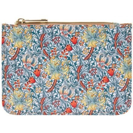 Gold and Blue Lily Zip Purse