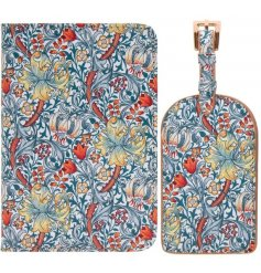 A stylish set of passport cover and luggage tag featuring a beautiful and intricate Golden Lily decal