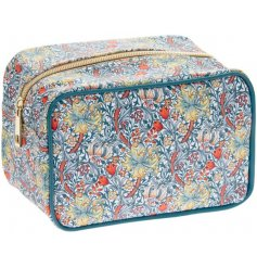 A large zip up cosmetics bag featuring a beautiful and intricate Golden Lily decal