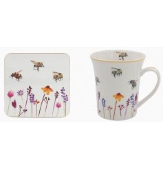 A set of a smooth white Fine China Mug and coaster with a beautifully printed Busy Bee Garden themed decal