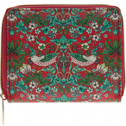 Green and Red Strawberry Thief Zip Wallet