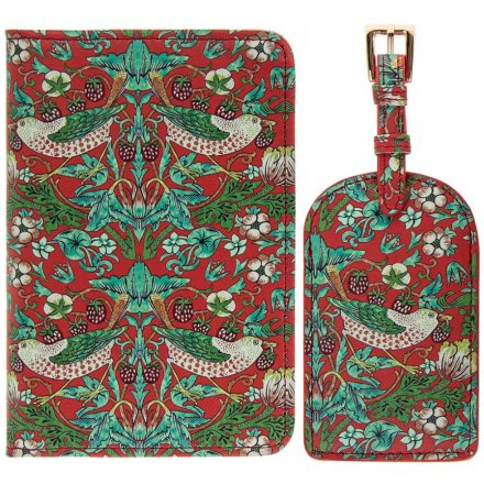 Green and Red Strawberry Thief Travel Set