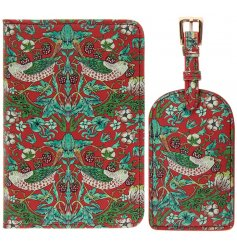 Green and Red Strawberry Thief Travel Set   A vintage inspired travel set including a passport cover and luggage tag