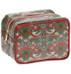 A vintage inspired cosmetics bag featuring a beautiful and intricate Red Strawberry thief decal