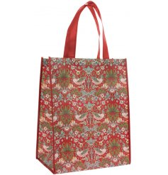 A vintage inspired shopping bag featuring a beautiful and intricate Red Strawberry thief decal