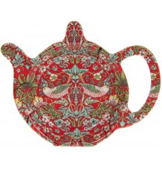 A vintage inspired teabag tidy featuring a beautiful and intricate Red Strawberry thief decal