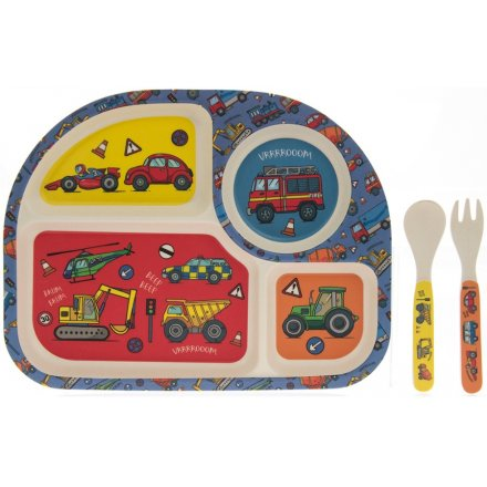 Bamboo Kids Dining Set - Vehicles