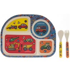 The Eco Friendly Bamboo Eating Set is decorated with a colourful vehicle print motif.