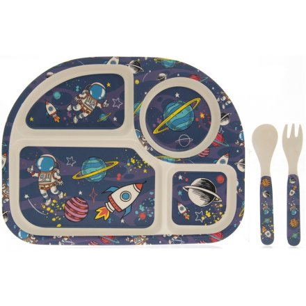 Kids Bamboo Eating Set - Space