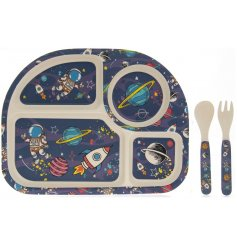 This Eco Friendly Bamboo Eating Set has a cute Space motif in bright colours.