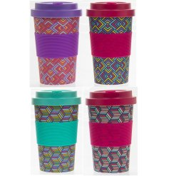 The vivid Bamboo Travel Mug is available in 4 bright geometric print designs.