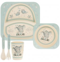 A blue toned bamboo dinner set featuring a cute Bird & Ellie decal