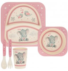 A pink toned bamboo dinner set featuring a cute Bird & Ellie decal
